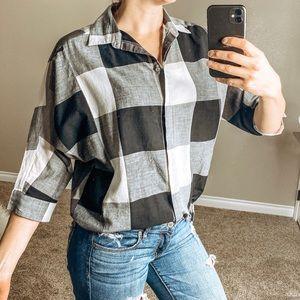 LOFT Black White Oversized Short Sleeve Shirt S